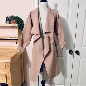 Mauve / Blush Wrap Trench Coat with Belt Tie Small